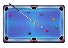Illustration: Pool Table with Balls and Cue Stick. Royalty Free Stock Image