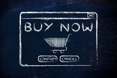 Illustration of pop-up window with text Buy Now and cart Royalty Free Stock Photos
