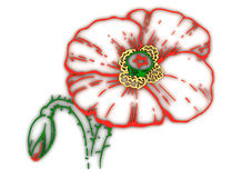 Illustration. poppy flower contour Stock Photography