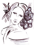 Illustration portrait of a beautiful female with flowers in her hair Royalty Free Stock Photography