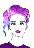 Illustration portrait of a beautiful girl with purple hair royalty free illustration