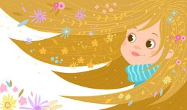 Illustration with a portrait of a girl with flowers in her hair. vector illustration