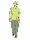 Illustration portrait of a guy walking. Young man in casual dress walking isolated on white Vector Illustration