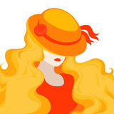 Illustration - portrait of a young woman in an old-fashioned hat Royalty Free Stock Image