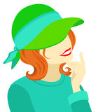 Illustration - portrait of a young woman in an old-fashioned hat Stock Image