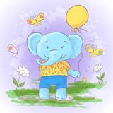Illustration postcard cute cartoon baby elephant. With a balloon. Print for clothes or childrens room stock illustration