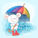 Illustration postcard cute cartoon mouse with umbrella. Print for clothes or childrens room vector illustration