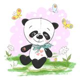 Illustration postcard cute cartoon panda. With flowers and butterflies. Print for clothes or childrens room stock illustration