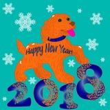Illustration postcard, Orange Dog, Symbol of the Year, inscripti Royalty Free Stock Photography