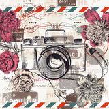 Illustration or postcard with retro camera and flowers for design Royalty Free Stock Photos