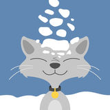 Illustration or poster with cat in winter Royalty Free Stock Images