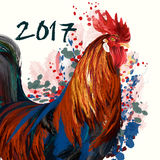 Illustration or poster with peacock, symbol of 2017. Vector Stock Photos