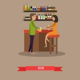 Illustration potable de vecteur de concept de bière de personnes dans le style plat Photographie stock libre de droits