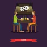 Illustration potable de vecteur de concept de bière de personnes dans le style plat Photo stock