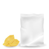 Illustration of potato chips with mock up bag. Stock Image