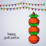 Illustration of elements of hindu festival Gudi Padwa background. Illustration of pots and decoration with happy gudi padwa text on the occasion of hindu Royalty Free Stock Photos