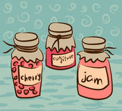 Illustration with pots of the jam Stock Image