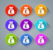 Pound sack icons with various colors Royalty Free Stock Photography