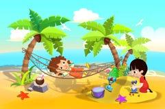 Illustration pour des enfants : Jeu d'enfants à la plage de sable, on dormant dans l'hamac, on jouant en sables illustration de vecteur