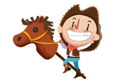 Illustration pour des enfants : Le jeu de garçon de vache avec le jouet bourré de cheval illustration de vecteur