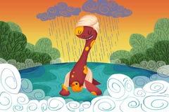 Illustration pour des enfants : Le loch Ness Monster Provides le canard jaune un asile sûr quand il pleut Photo stock