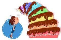Illustration pour des enfants : Le petit homme de joyeux anniversaire, le gâteau d'anniversaire à gradins s'est penché plus étroi illustration stock