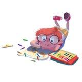 Illustration pour des enfants : Le petit peintre est sur le dessin, d'isolement sur le fond blanc illustration stock