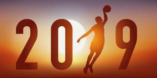 Illustration pour une présentation du journal intime 2019 de saison de basket-ball illustration de vecteur