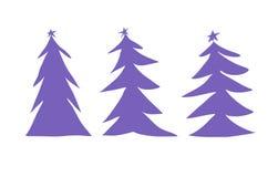 Illustration pourpre de trois arbres de Noël illustration stock