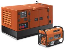 Illustration of power generators. Illustration of different kind of industrial and home power generators Stock Photography