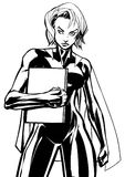 Superheroine Holding Book No Mask Line Art. Illustration of powerful superheroine holding book, magazine or comics. You can use the copy space on the cover as Royalty Free Stock Photography