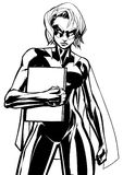 Superheroine Holding Book Line Art. Illustration of powerful superheroine holding book, magazine or comics. You can use the copy space on the cover as you wish Stock Photography