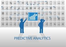 Illustration prévisionnelle d'analytics Deux analystes analysant le tableau de bord de reportage Images stock