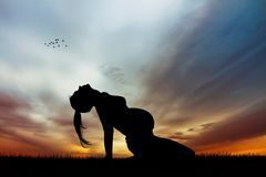 A pregnant girl doing yog at sunset royalty free stock photo