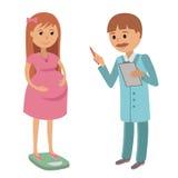 Illustration of a pregnant woman having a prenatal checkup Royalty Free Stock Photography