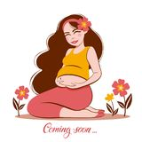 Illustration  of pregnant woman touching her big belly Stock Images
