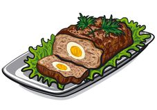Prepared meat loaf. Illustration of prepared meat loaf with egg and lettuce on plate Royalty Free Stock Photos