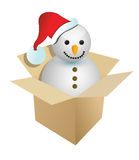 Illustration of a present or gift with a snowman Royalty Free Stock Images