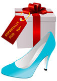 Illustration of a present and a lady shoe Royalty Free Stock Photography