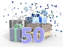 An illustration of a presents and confetti for a fifty years old men. In blue colors. Three dimensional text in the front Royalty Free Stock Photo