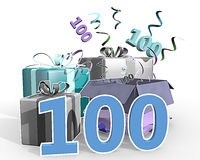An illustration of presents with number 100. A colorful illustration of four presents, confetti flying out of the unpacked present. Number hundred in front of Royalty Free Stock Image