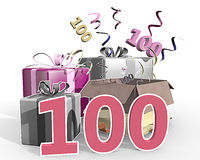 An illustration of presents with number 100 Stock Image
