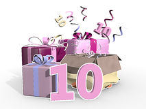 An illustration of presents with number 10. A colorful illustration of four presents, confetti flying out of the unpacked present. Number ten in front of the Royalty Free Stock Image