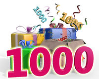 An illustration of presents with a pink number 1000. A colorful illustration of four presents, confetti flying out of the unpacked present. Number thousand in Royalty Free Stock Photography