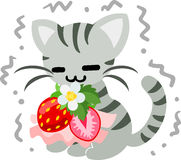 The illustration of pretty cat. The shivering pretty little cat and a cute strawberry accessory Stock Images