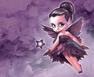 Illustration of a pretty fairy. Illustration of a beautiful fairy with butterfly wings holding a star shaped magic stick in her hands on the pink background Royalty Free Stock Image