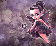 Illustration of a pretty fairy. Illustration of a beautiful fairy with butterfly wings holding a star shaped magic stick in her hands on the pink background Royalty Free Stock Photography