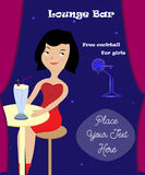 Illustration of a pretty girl in the bar. Illustration of the  girl in the bar Royalty Free Stock Photo