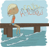 Illustration pretty girl on the beach. Illustratio Stock Photos