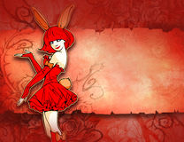 Illustration of a pretty girl in bunny costume Stock Photo